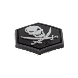 patch hexagonal velcro pirate tete de mort sabre