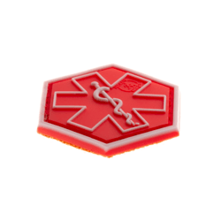 patch hexagonal velcro paramedic medic rouge