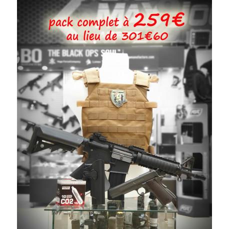 pack gamer m4 lancer tactical + PA 1911 co2 gbb metal + gilet + holster cqc 1911