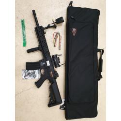 pack M4 lancer tactical lt-12 ris evo polymere  + batterie 9.6v + chargeur + point rouge + housse