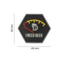 patch hexagonal velcro i need beer biere jaune rouge