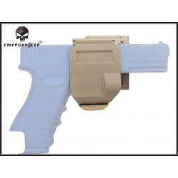 holster clip tan pour glock + block lampe g17 g18 g19 g26