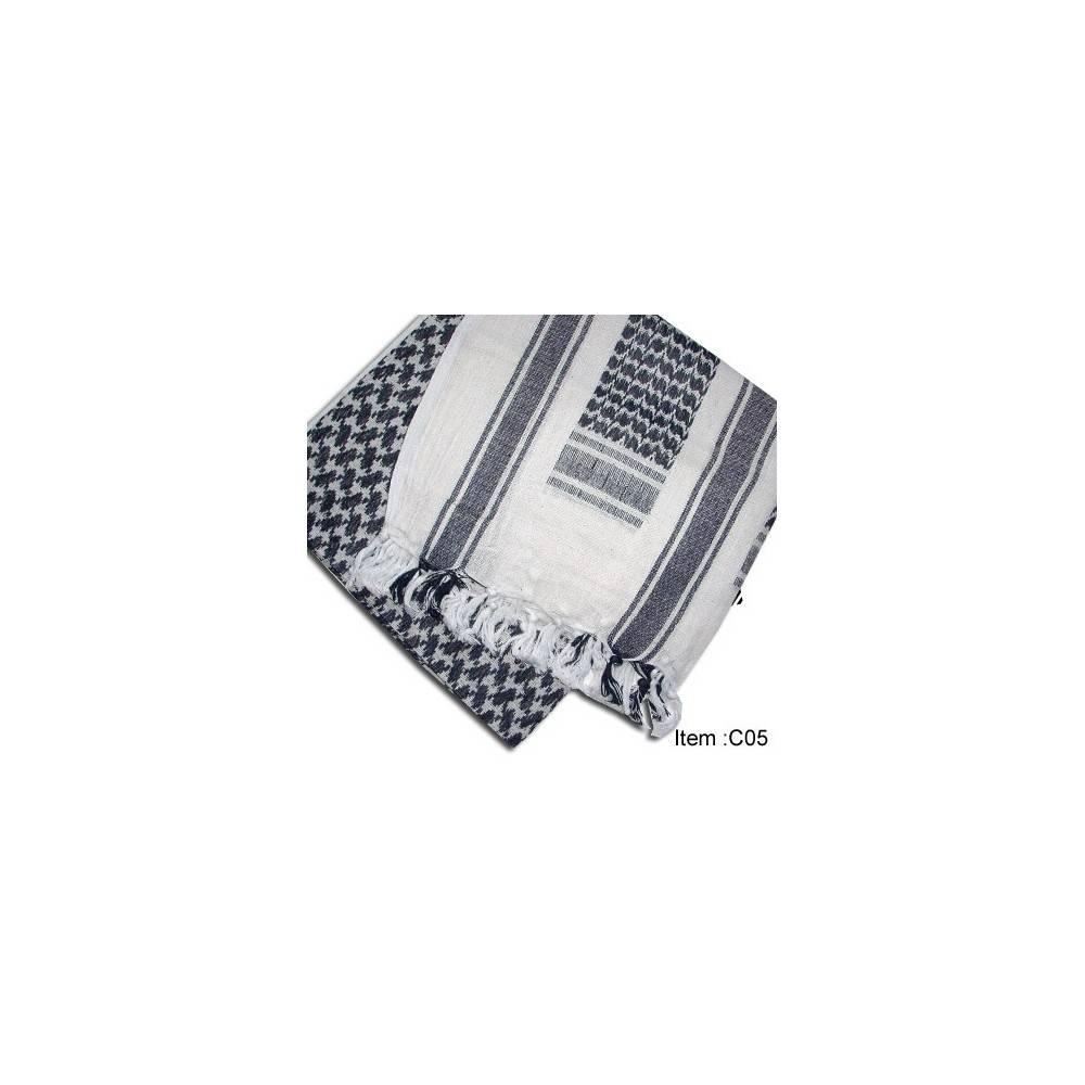 Cheche shemag  blanc/noir 1.15mx1.15m kgear