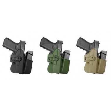 Holster rigide pour glock g17/22/31/19/23/32/36 avec porte chargeur IMI Z1023