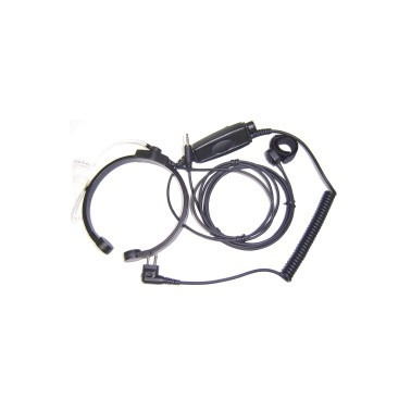 Micro laryngophone tour de cou rigide avec PTT en ligne + déporté de doigt et contour d'oreille réglable en demi crochet souple