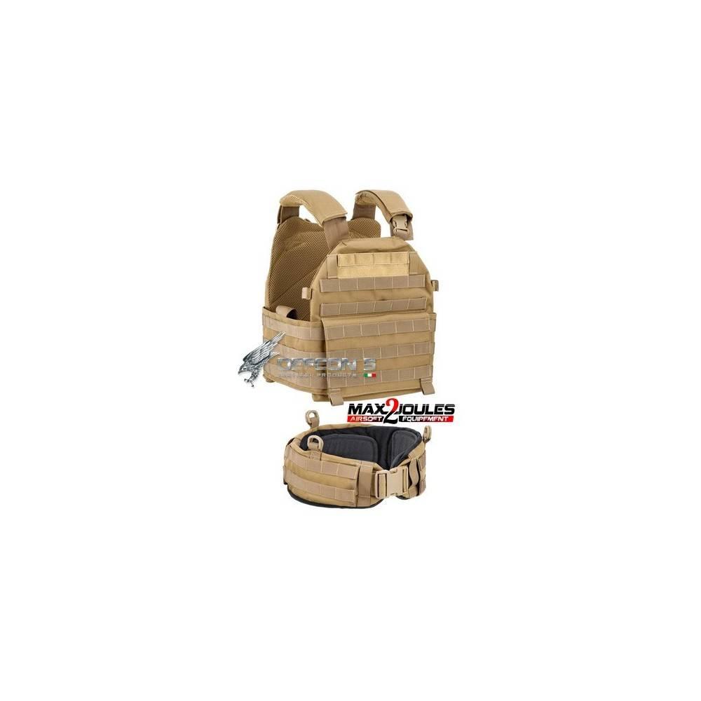 vest carrier molle + ceinture belt molle Tan defcon5 1000D d5-bav13 t