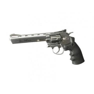 "Dan wesson 6"" revolver silver metal 17479"