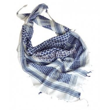 Cheche shemag  blanc/bleu 1.1mx1.1m