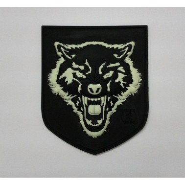 patch velcro wolf noir et phosphorescent