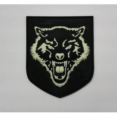 patch velcro wolf noir et phosphorescent