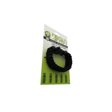 bracelet paracord noir avec sifflet et pierre a feu