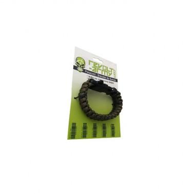 bracelet paracord olive avec sifflet et pierre a feu