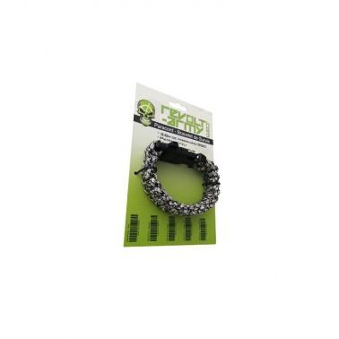 bracelet paracord camo blanc avec sifflet et pierre a feu