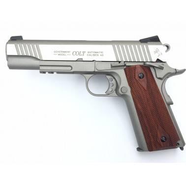 colt 1911 rail gun inox  plaquette bois metal co2 180530