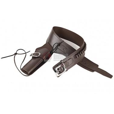 ceinture cowboy + holster cuire brun