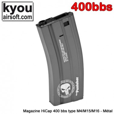 chargeur metal 400 bb's punisher m4 m15 m16