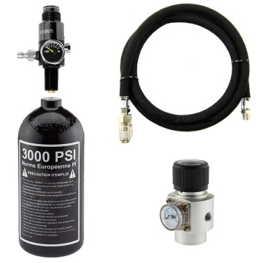 pack hpa bouteille 3000psi + ligne renforcee + regulateur 0-120 psi