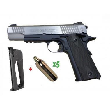 pack colt 1911 rail gun co2 bicolor noir 180531 + chargeur sup + 5 cartouches