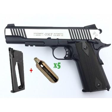 pack colt 1911 rail gun co2 dual ton noir 180525 + chargeur sup + 5 cartouches