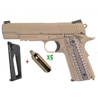pack colt 1911 m45a1 co2 + chargeur sup + 5 cartouches