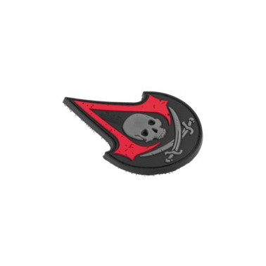 patch assassin skull rubber red
