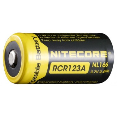 accus nitecore  li-ion rcr123A 650mah 3.7v 2.4wh rechargeable