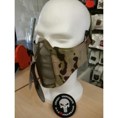 demi masque grillage TMC multicam + insert mousse + fixation sur casque