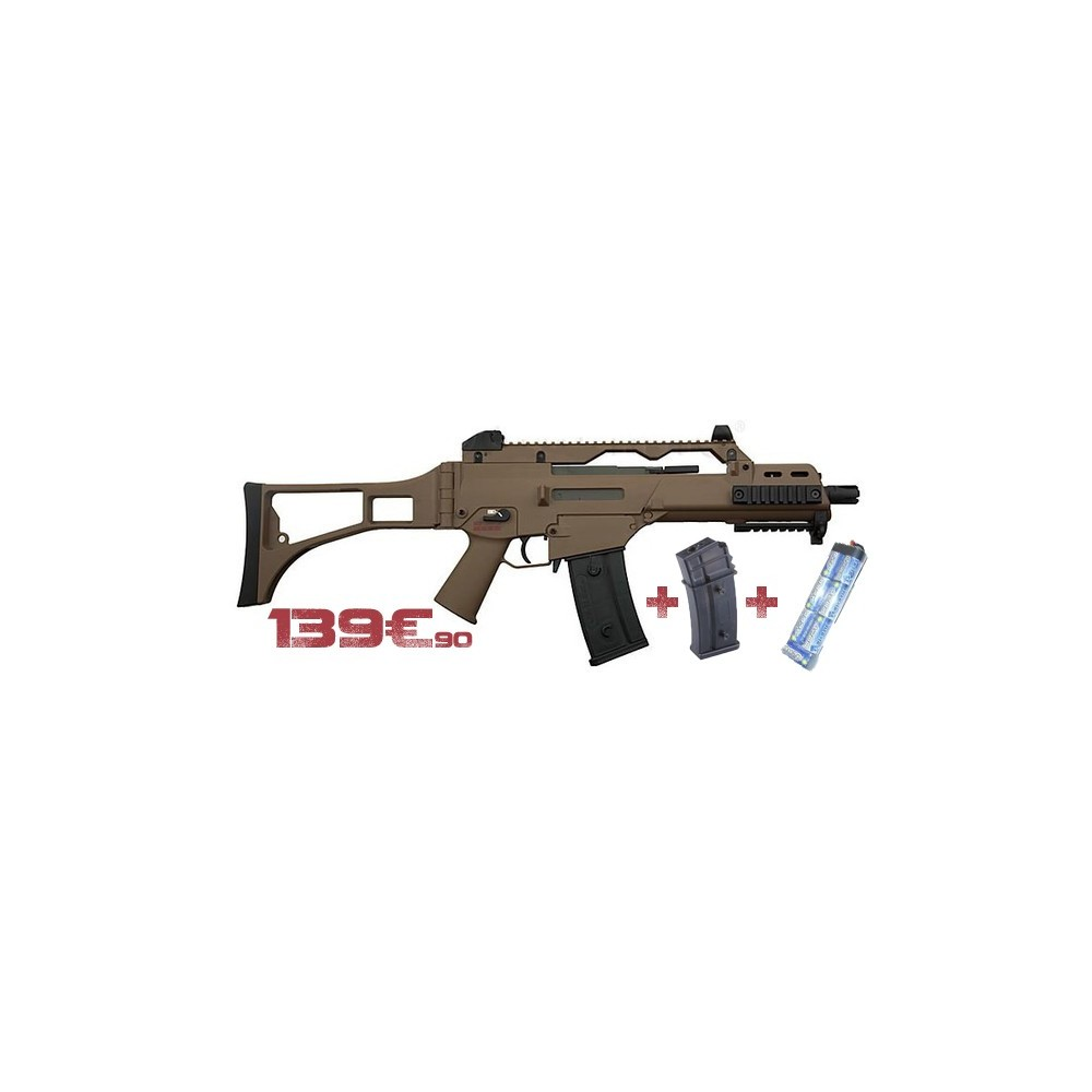 pack g36c tan s&t + batterie + chargeur sup
