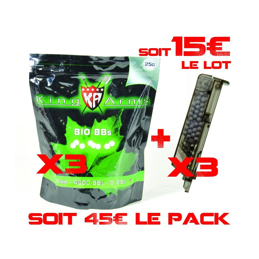 lot 3 sacs bb's 0.25 king arms + 3 bb loader 90 bb's