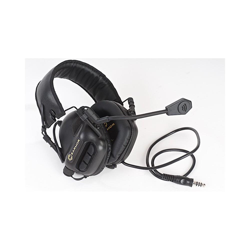 casque tactique earmor ear-muff noir m32-bk