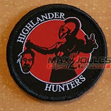 patch highlander hunter rond noir et rouge 59mm