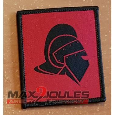patch casque gladiateur noir fond rouge secutor