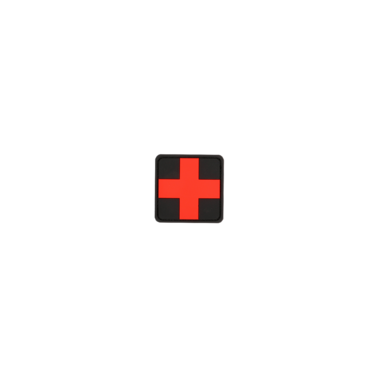 "patch velcro pvc medic square 2"" rouge et noir"