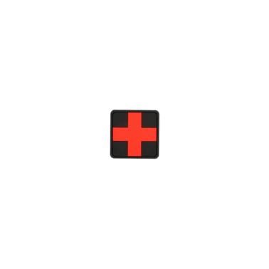 """patch velcro pvc medic square 2"""" rouge et noir"""