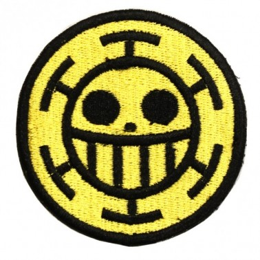 patch velcro one piece trafalgar law smiley sur fond jaune
