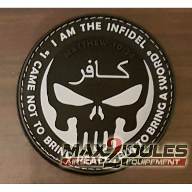 patch velcro pvc infidel punisher noir et blanc