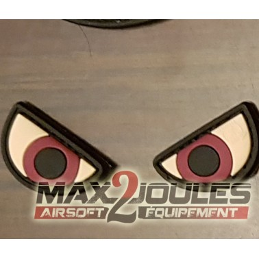 lot de 2 patchs pvc velcro angry eyes yeux