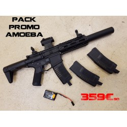 pack amoeba am-014 noir + lipo 11.1v + red dot t1 + 2 chargeurs sup 140 bb's