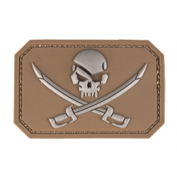 patch pvc skull  pirates tan