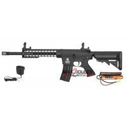 pack AEG LT-12 gen2 m4 ris lancer tactical + batterie 9.6v + chargeur regulépack AEG LT-12 gen2 m4 keymod lancer tactical + batt
