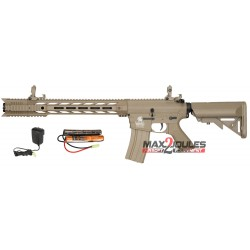 pack AEG LT-25 m4 spr interceptor TAN lancer tactical + batterie 9.6v + chargeur regulé