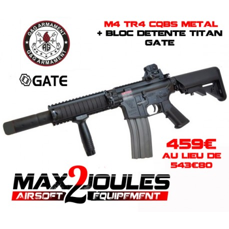 pack M4 TR4 metal G&g cqbs + bloc detente titan gate