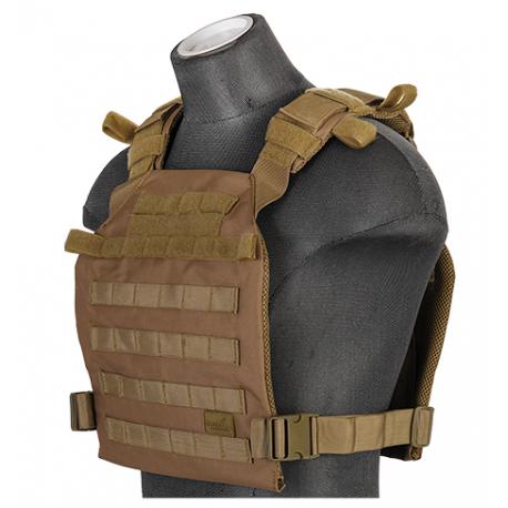 gilet leger plate carrier tan 1000D lancer tactical a68611