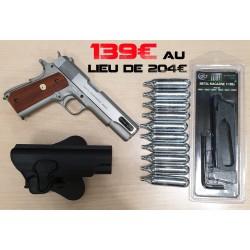 pack 1911 rail gun mkIV metal + holster + 10 cartouches + chargeur sup