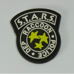 patch pvc stars raccoon police fond noir