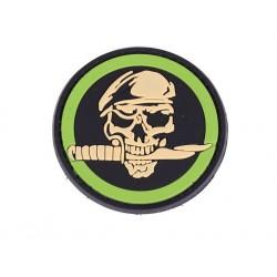 patch pvc skull crane  beret couteau