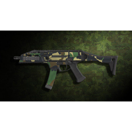 kit complet customisation skin scorpion EVO 3A1 camo woodland  + 4 chargeurs