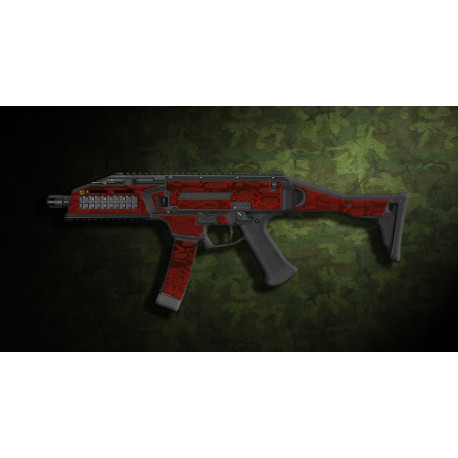 kit complet customisation skin scorpion EVO 3A1 camo serpent rouge  + 4 chargeurs
