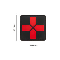 patch pvc medic croix moderne rouge  blackmedic